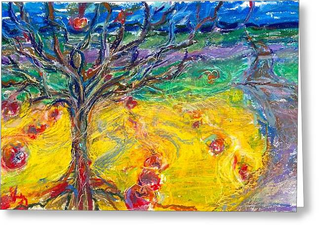 Sacred Pastels Greeting Cards - Apple tree Greeting Card by Laurie Parker