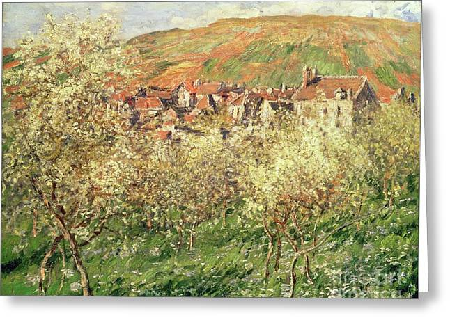 Apple Trees In Blossom Greeting Card by Claude Monet