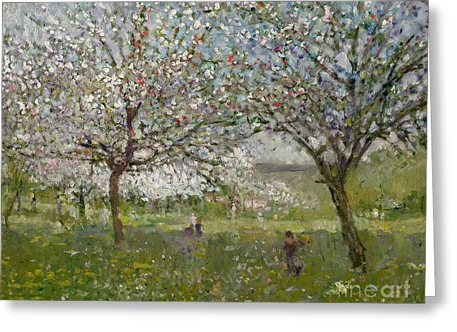 Apple Tree Greeting Cards - Apple Trees in Flower Greeting Card by Ernest Quost