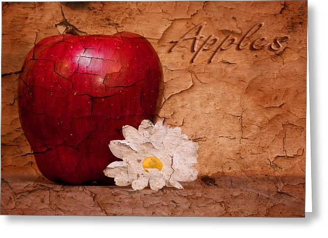 Produce Greeting Cards - Apple with Daisy Greeting Card by Tom Mc Nemar