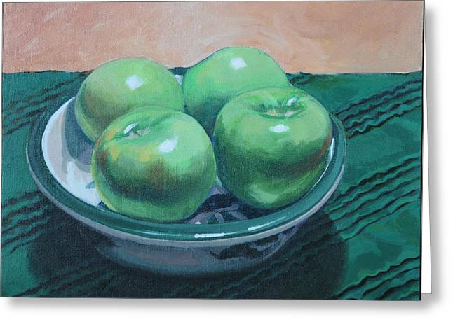 Still Life With Green Apples Greeting Cards - Apples #2 Greeting Card by B Sanders