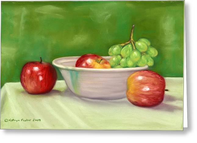 Grape Leaves Pastels Greeting Cards - Apples and Grapes Greeting Card by Kathryn Foster