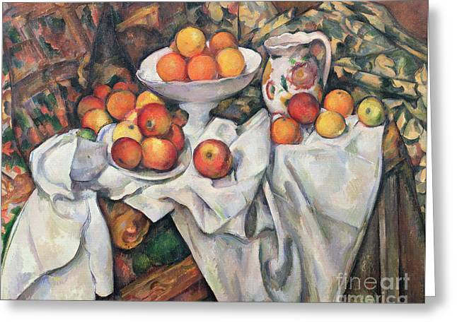 Draped Greeting Cards - Apples and Oranges Greeting Card by Paul Cezanne