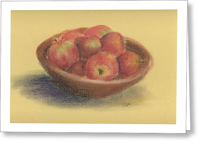 Wooden Bowls Paintings Greeting Cards - Apples Greeting Card by Caryn Sterling