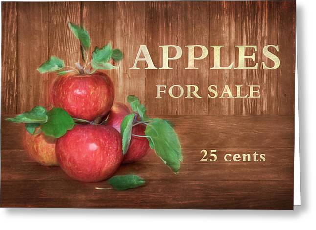 Stood Mixed Media Greeting Cards - Apples For Sale Greeting Card by Lori Deiter
