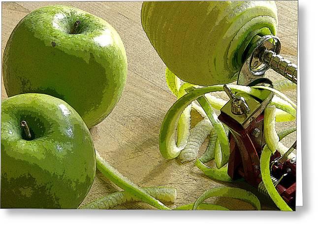 Apples Getting Peeled Greeting Card by Debra Baldwin