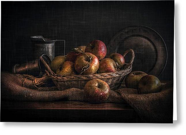 Still-life With A Basket Greeting Cards - Apples Greeting Card by Hugo Bussen