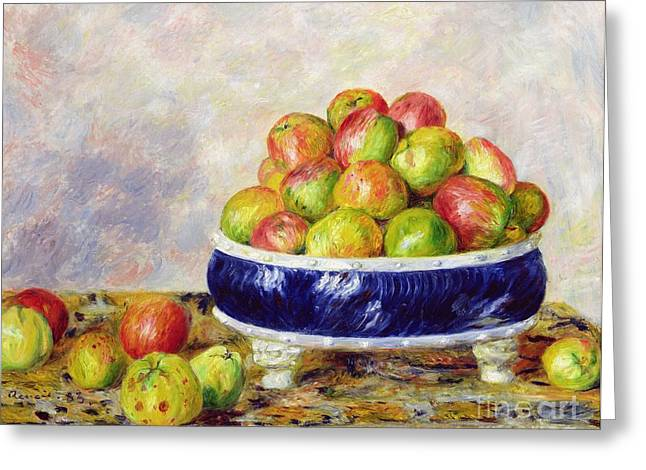 Apple Paintings Greeting Cards - Apples in a Dish Greeting Card by  Pierre Auguste Renoir