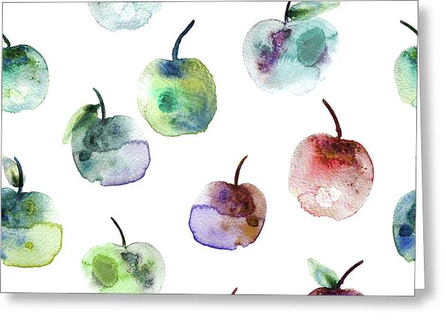 Apples Greeting Card by Varpu Kronholm