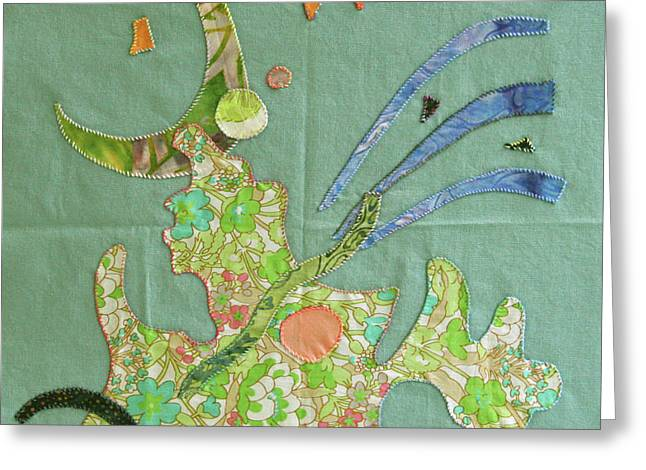 Abstract Quilt Tapestries - Textiles Greeting Cards - Applique 11 Greeting Card by Eileen Hale