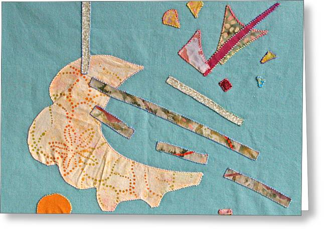 Abstract Quilt Tapestries - Textiles Greeting Cards - Applique 4 Greeting Card by Eileen Hale