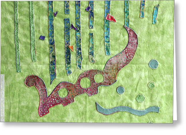 Abstract Quilt Tapestries - Textiles Greeting Cards - Applique 9 Greeting Card by Eileen Hale