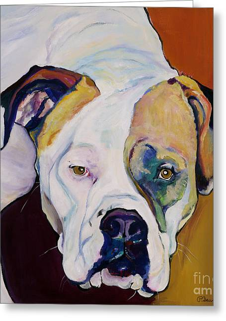 Bulldog Prints Greeting Cards - Apprehension Greeting Card by Pat Saunders-White