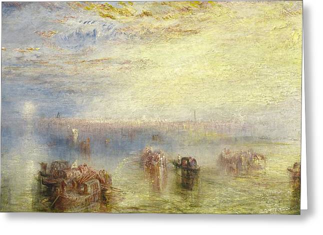 Italian Med Greeting Cards - Approach To Venice Greeting Card by Joseph Mallord William Turner
