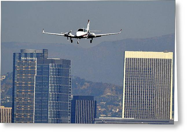 Landing Airplane Greeting Cards - Approaching Greeting Card by Fraida Gutovich