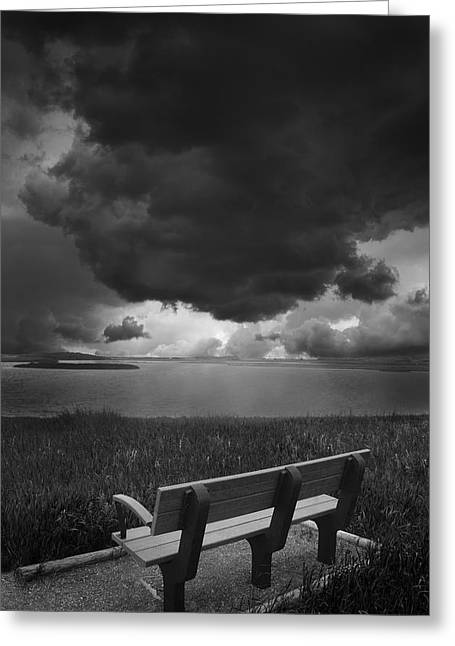 Empty Bench Greeting Cards - Approaching Storm Greeting Card by Donald  Erickson