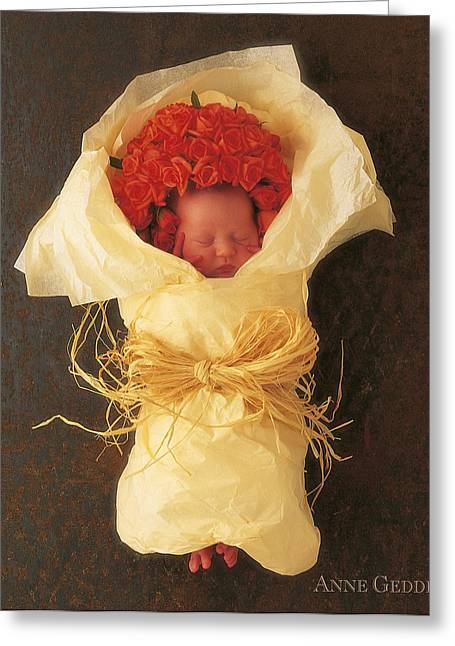 Apricots Greeting Cards - Apricot Bouquet Greeting Card by Anne Geddes