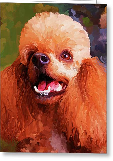 Apricots Paintings Greeting Cards - Apricot Poodle Greeting Card by Jai Johnson