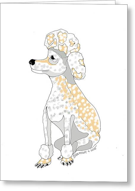 Apricot Drawings Greeting Cards - Apricot Poodle Greeting Card by Joan Mansson