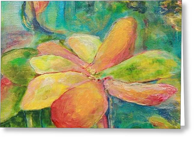 Abstract Expressionist Greeting Cards - Apricot Water Lily Greeting Card by Patty Mowatt