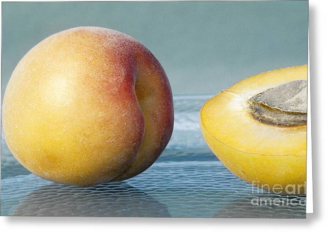 Apricot Greeting Cards - Apricots, Whole And Half Greeting Card by Inga Spence