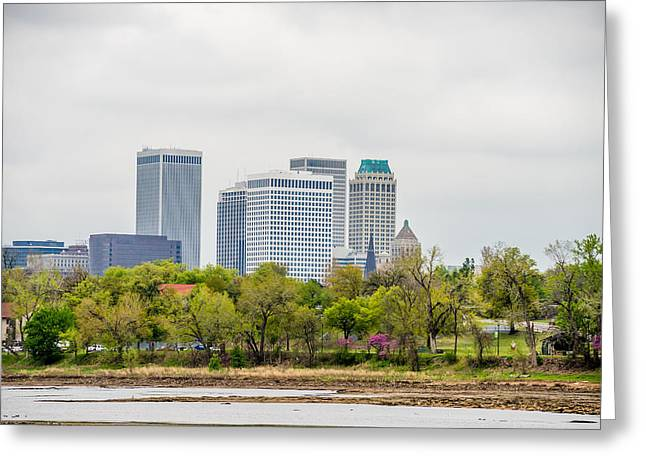 Riverpark Greeting Cards - April 2015 - Stormy weather over Tulsa oklahoma Skyline Greeting Card by Alexandr Grichenko