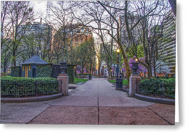 Rittenhouse Square Greeting Cards - April at Rittenhouse Square Greeting Card by Bill Cannon