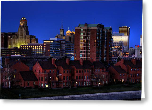 City Hall Greeting Cards - April Nighttime Greeting Card by Don Nieman
