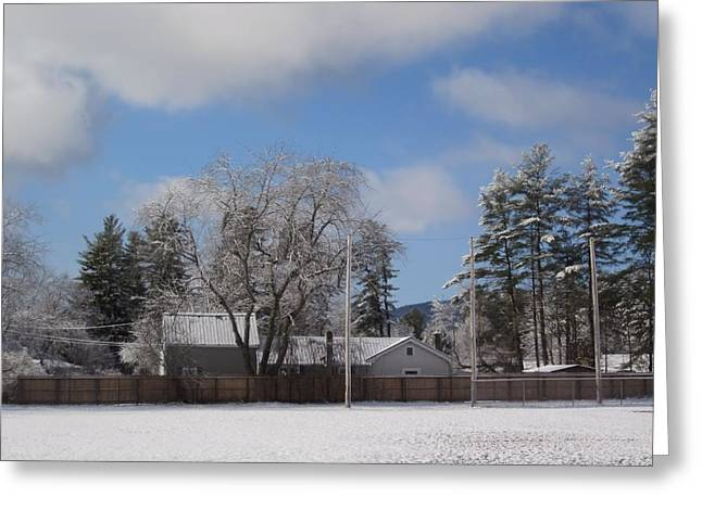 New England Snow Scene Greeting Cards - April Snow Scene Greeting Card by MTBobbins Photography