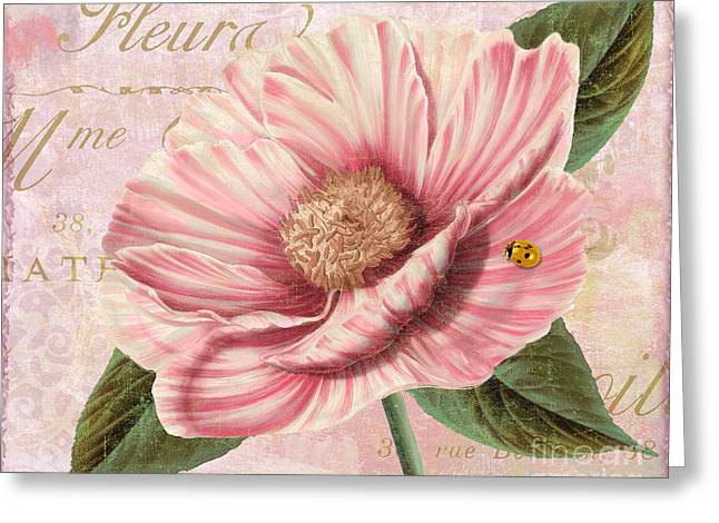 Soft Pink Greeting Cards - April Striped Peony Greeting Card by Mindy Sommers