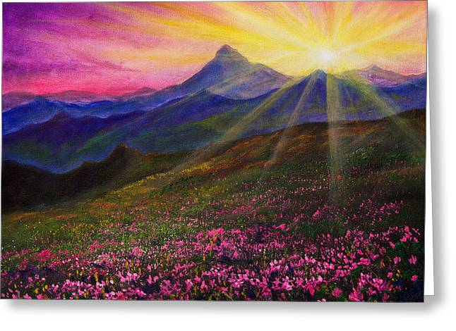 Sun Rays Paintings Greeting Cards - April Sunset Greeting Card by C Steele