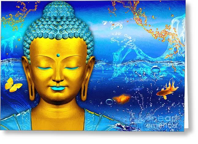 Aqua Buddha Greeting Card by Khalil Houri