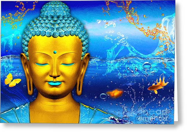 Recently Sold -  - Statue Portrait Greeting Cards - Aqua Buddha Greeting Card by Khalil Houri