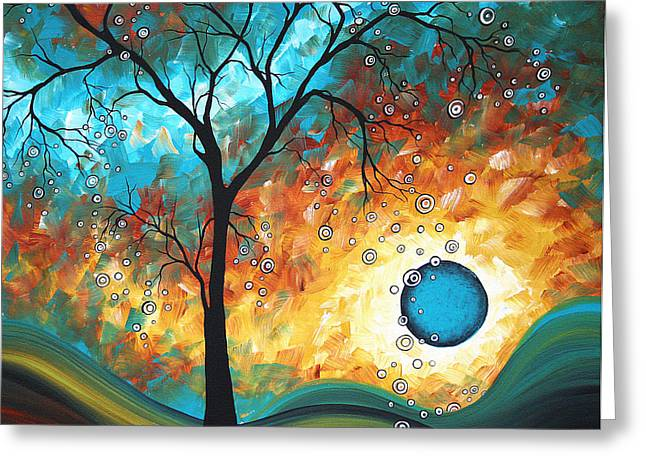 Yellow Trees Greeting Cards - Aqua Burn by MADART Greeting Card by Megan Duncanson