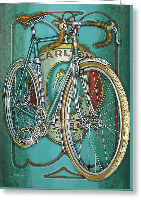 Aqua Carlton Fixed Greeting Card by Mark Howard Jones