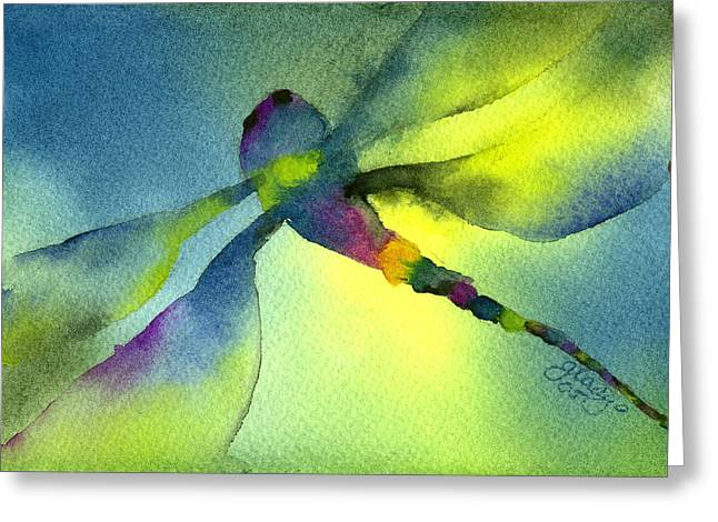 Damselfly Greeting Cards - Aqua Dragonfly Greeting Card by Gladys Folkers