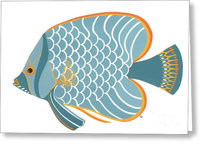 Aqua Mid Century Fish Greeting Card by Stephanie Troxell