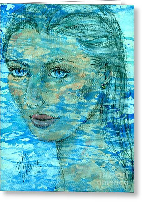 Face Of A Woman Greeting Cards - Aqua Greeting Card by P J Lewis