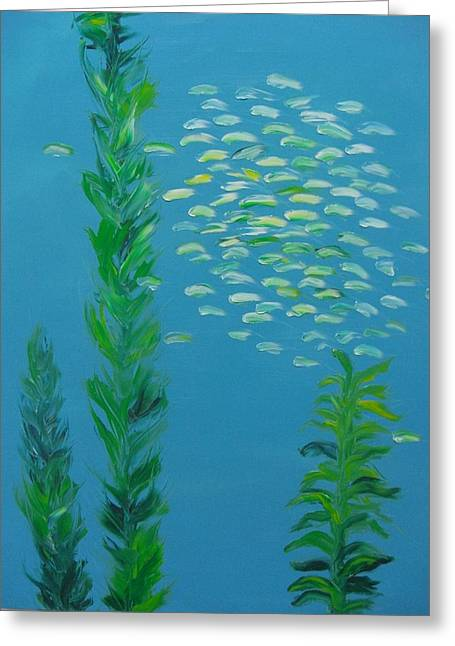 Diving In California Greeting Cards - Aqua School No. 2 Greeting Card by Peggy Farrell