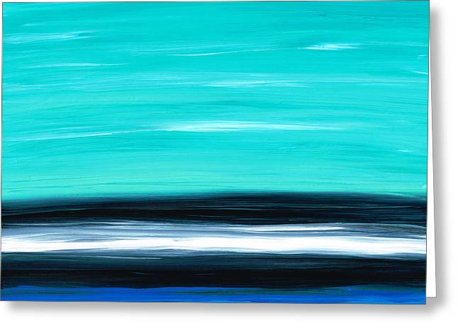 Ocean Shore Paintings Greeting Cards - Aqua Sky - Bold Abstract Landscape Art Greeting Card by Sharon Cummings