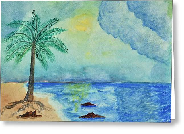 Seascape With Cloudy Sky Greeting Cards - Aqua Sky Ocean Scene Greeting Card by Linda Brody