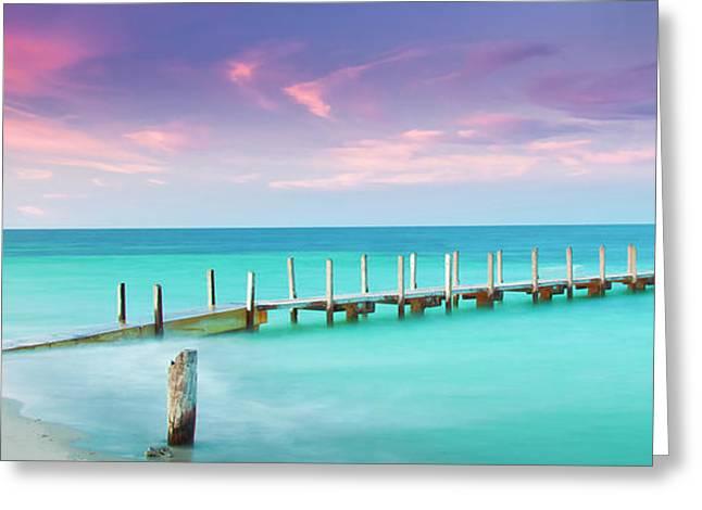Wharf Greeting Cards - Aqua Waters  Greeting Card by Az Jackson