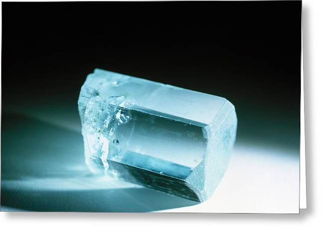 Precious Stone Greeting Cards - Aquamarine Crystal Greeting Card by Lawrence Lawry