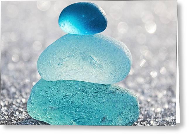 Aquamarine Ice Greeting Card by Barbara McMahon