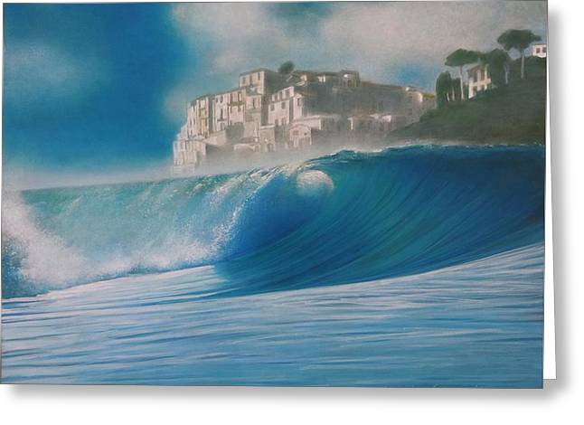 Foggy Ocean Paintings Greeting Cards - Aquamarine Greeting Card by Mark  Leavitt