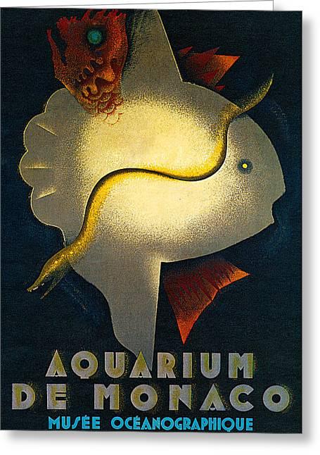 Sunfish Greeting Cards - Aquarium de Monaco Greeting Card by Jean Carlu