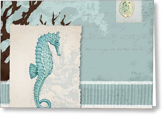 Sea Horse Greeting Cards - Aquarius I -  Blue Greeting Card by Paul Brent