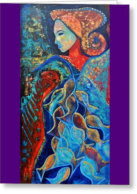 Aquarius Greeting Card by Jeanett Rotter