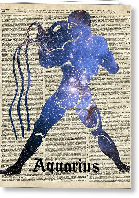 Constellations Mixed Media Greeting Cards - Aquarius The Water-Bearer - Zodiac Sign Greeting Card by Jacob Kuch