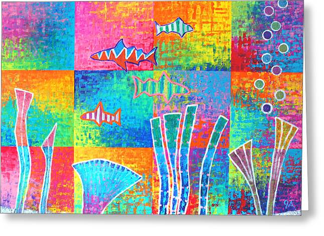 Aquatic - Blocks Greeting Card by Jeremy Aiyadurai